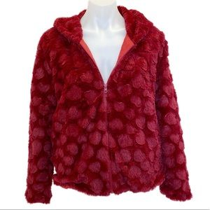 Burnt out hearts Faux fur Hoodie
